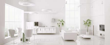 case moderne: Interno del moderno appartamento bianco soggiorno cucina 3d rendering Archivio Fotografico