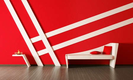 Modern inter of room with red wall and white couch 3d render Stock Photo - 9769301