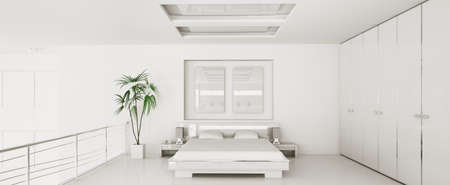 Interior of modern white bedroom panorama 3d render photo