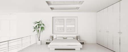 Interior of modern white bedroom panorama 3d render photo