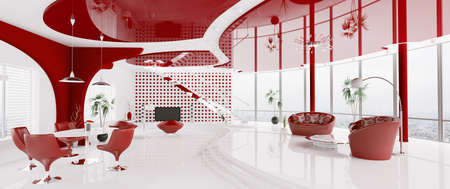 Interior of modern white red apartment panorama 3d render photo