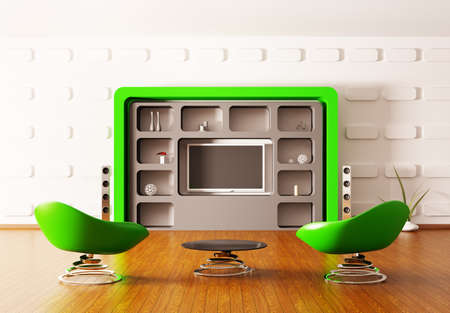 Modern interior with green armchairs and LCD 3d render