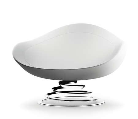 Fauteuil blanc Modern h�lice jambe isol� sur blanc rendu 3d Banque d'images