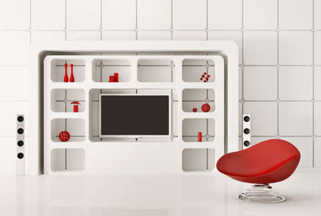 Modern white interior with red armchair and LCD 3d render Stock Photo - 9871527
