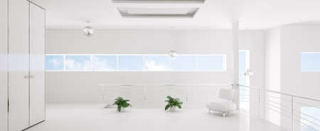 Interior of modern white room panorama 3d render photo
