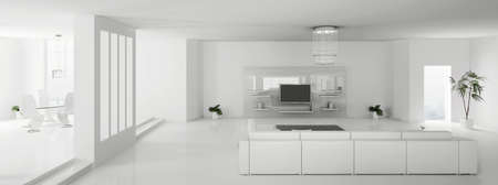 Interior of white modern apartment panorama 3d render Zdjęcie Seryjne