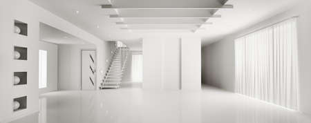 Interior of modern white apartment panorama 3d render photo