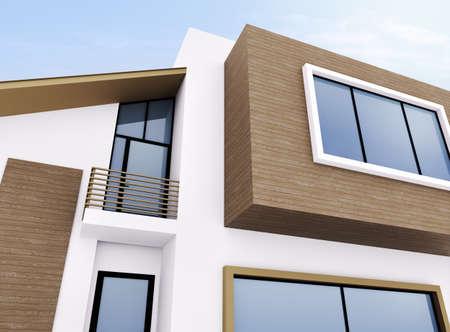 Außenansicht des modernen Wohnhaus Standard-Bild