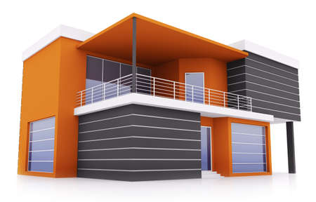 Exterior of modern orange black private house photo