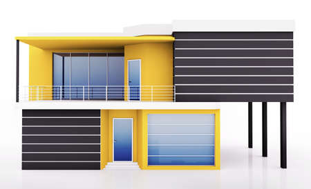 architectural rendering: Exterior of modern yellow black private house