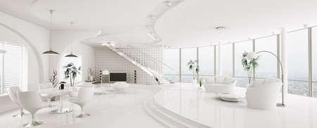 Interior of modern Wohnung Wohn-Esszimmer panorama 3d render Lizenzfreie Bilder