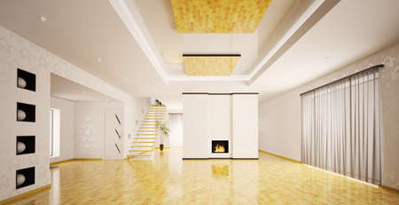 white room: Interior of modern empty apartment panorama 3d render Stock Photo