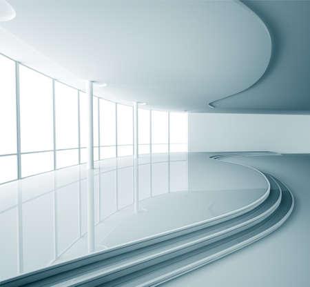futuristico: Astratto vuoto interiore moderno rendering 3d Archivio Fotografico