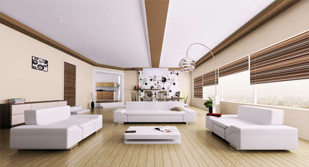 panoramic windows: Interior of modern room living room panorama 3d render Stock Photo