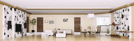 apartment living: Interior of modern apartment living room panorama 3d render