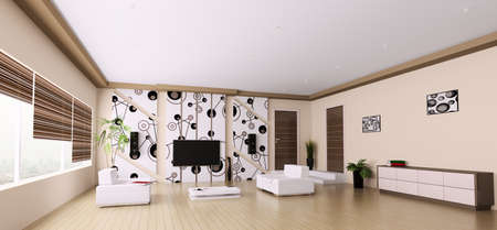Interior of modern living room panorama 3d render photo