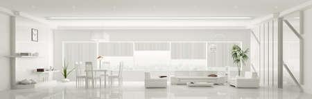 Modern home interior der weißen Wohnung Panorama 3d render