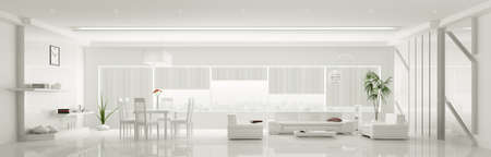 Modern home interior of white apartment panorama 3d render photo