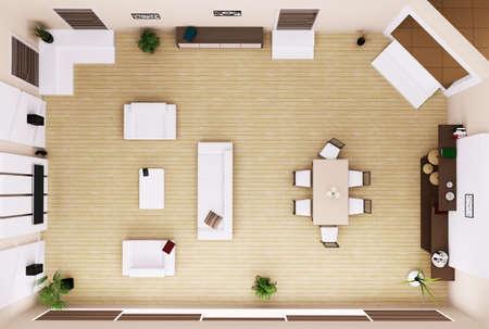 경치: 현대 거실 인테리어의 상위 뷰는 3 차원 렌더링 스톡 콘텐츠