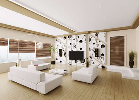 Modern Interior Of Living Room With Sofa, Floor Lamp Against Of ...