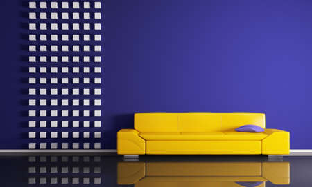 Modern interior of room with yellow sofa 3d render photo