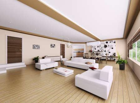 적층: 현대 아파트의 인테리어, 거실 3d 렌더링