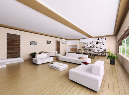 Interior of modern apartment, living room 3d render