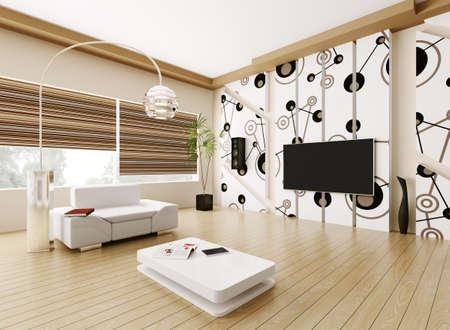 적층: 현대 거실의 인테리어 3d 렌더링