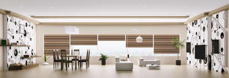 Inter of modern apartment living room panorama 3d render Stock Photo - 18219488