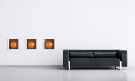 modern sofa: Modern interior of room with black sofa 3d render