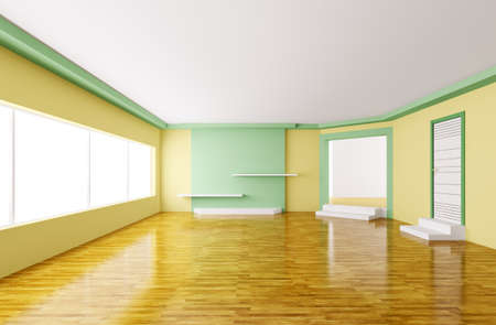 Interior of modern empty yellow green room 3d render Stock Photo - 18358254