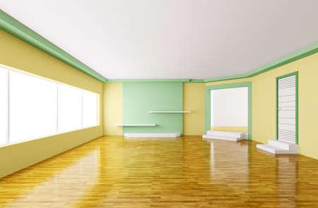 Interior of modern empty yellow green room 3d render Stock Photo - 18358254