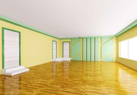 Inter of modern empty yellow green room 3d render Stock Photo - 18358255