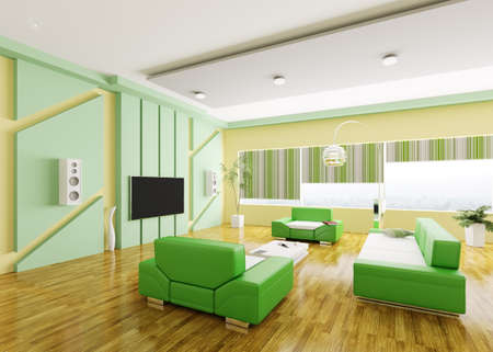 Interior of modern yellow green living room 3d render photo