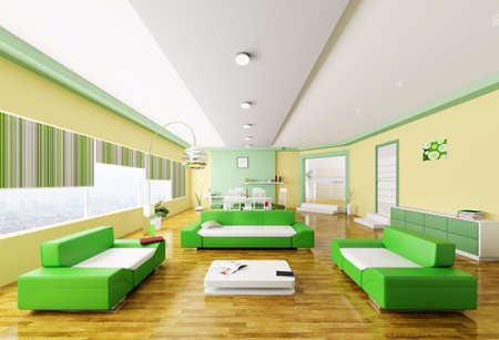 Inter of modern yellow green living room 3d render Stock Photo - 18358257