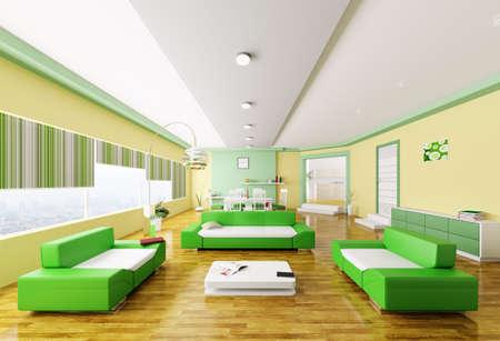 Interior of modern yellow green living room 3d render Stock Photo - 18358257
