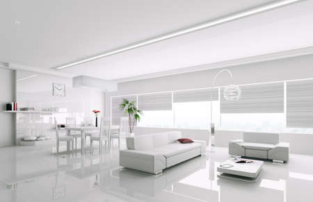 Interior of modern white apartment 3d render