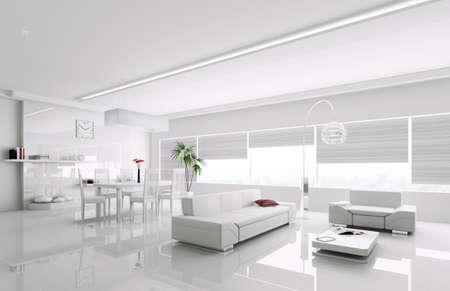 Interior of modern white Wohnung 3d render