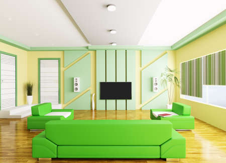 Interior of modern yellow green living room with lcd 3d render Stock Photo - 18428129