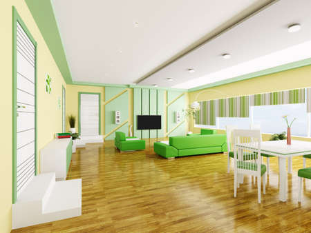 Interior of modern yellow green apartment 3d render Stock Photo - 18428133