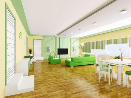 Interior of modern yellow green apartment 3d render Stock Photo - 18428133