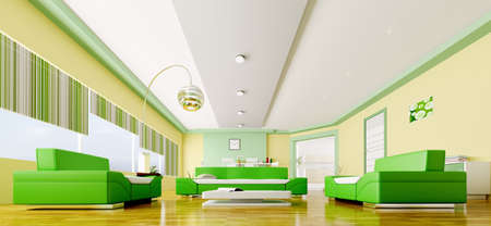 Interior of modern yellow green living room panorama 3d render photo