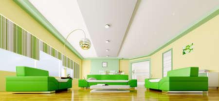 Interior of modern yellow green living room panorama 3d render Stock Photo - 18428131