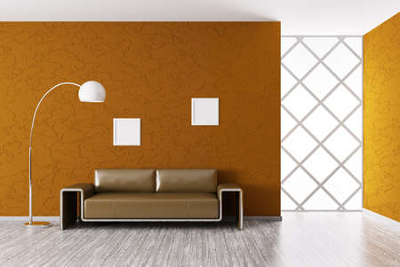 Modern interior of room with brown sofa 3d render photo