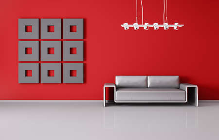 Modern inter of room with red wall and sofa 3d render Stock Photo - 18494753