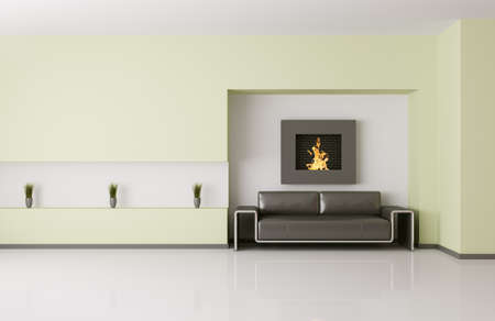 Modern interior of room with fireplace and sofa 3d render photo