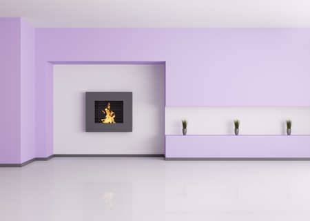 Modern empty interior of room with fireplace 3d render