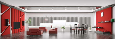 Interior of modern apartment living room panorama 3d render Stock Photo - 18494758