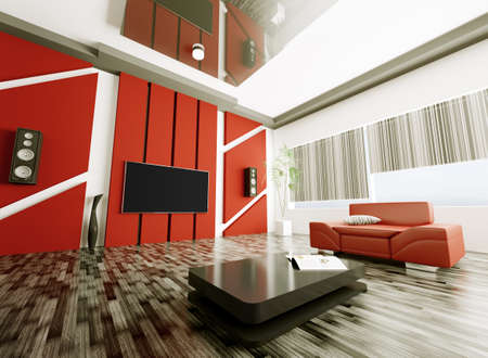 Inter of modern living room with armchair and lcd 3d render Stock Photo - 18540429