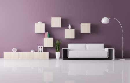 Interior aus Wohnzimmer mit Sofa und Regale 3d render
